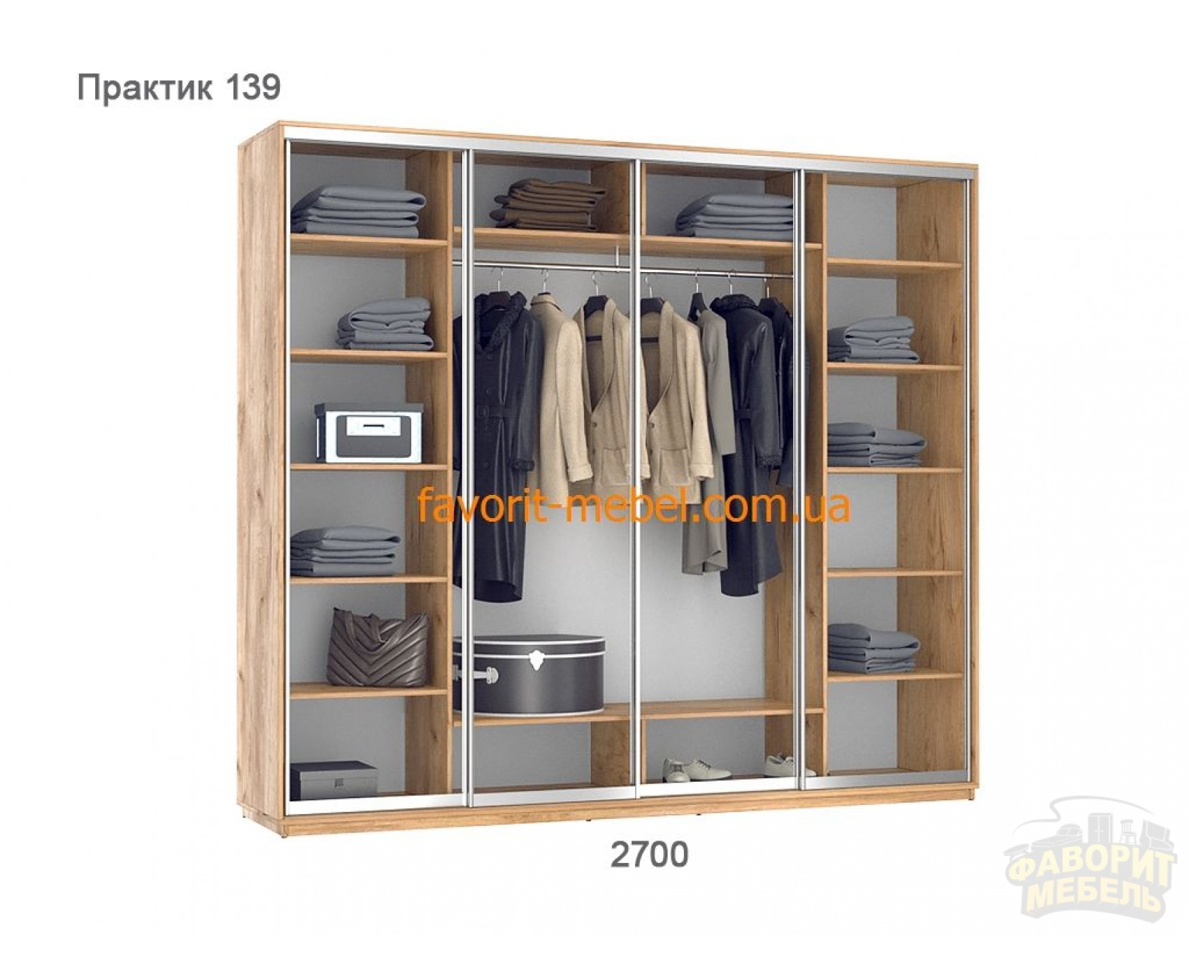 Шкаф купе Практик 139/4 (270х60х240 см)