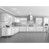 Кухня Платинум Белая патина серебро